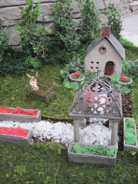 Miniature fairy cottage and gazebo